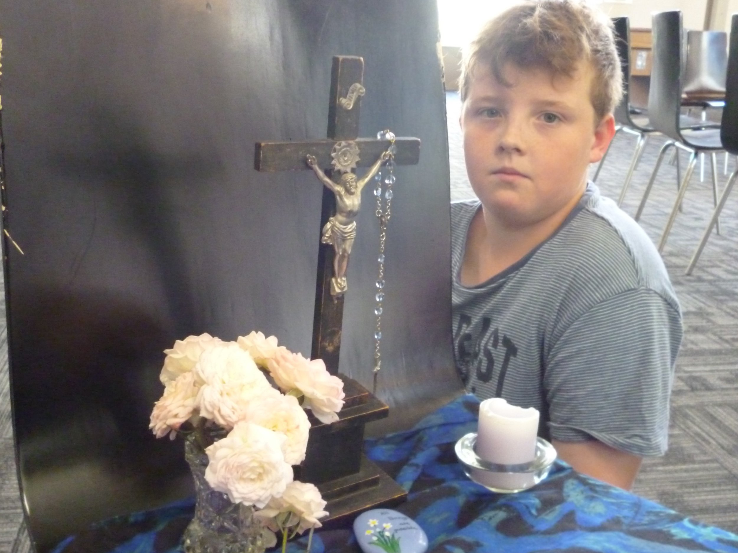 Shamus Young, of Tapanui, displays a prayer table he has designed