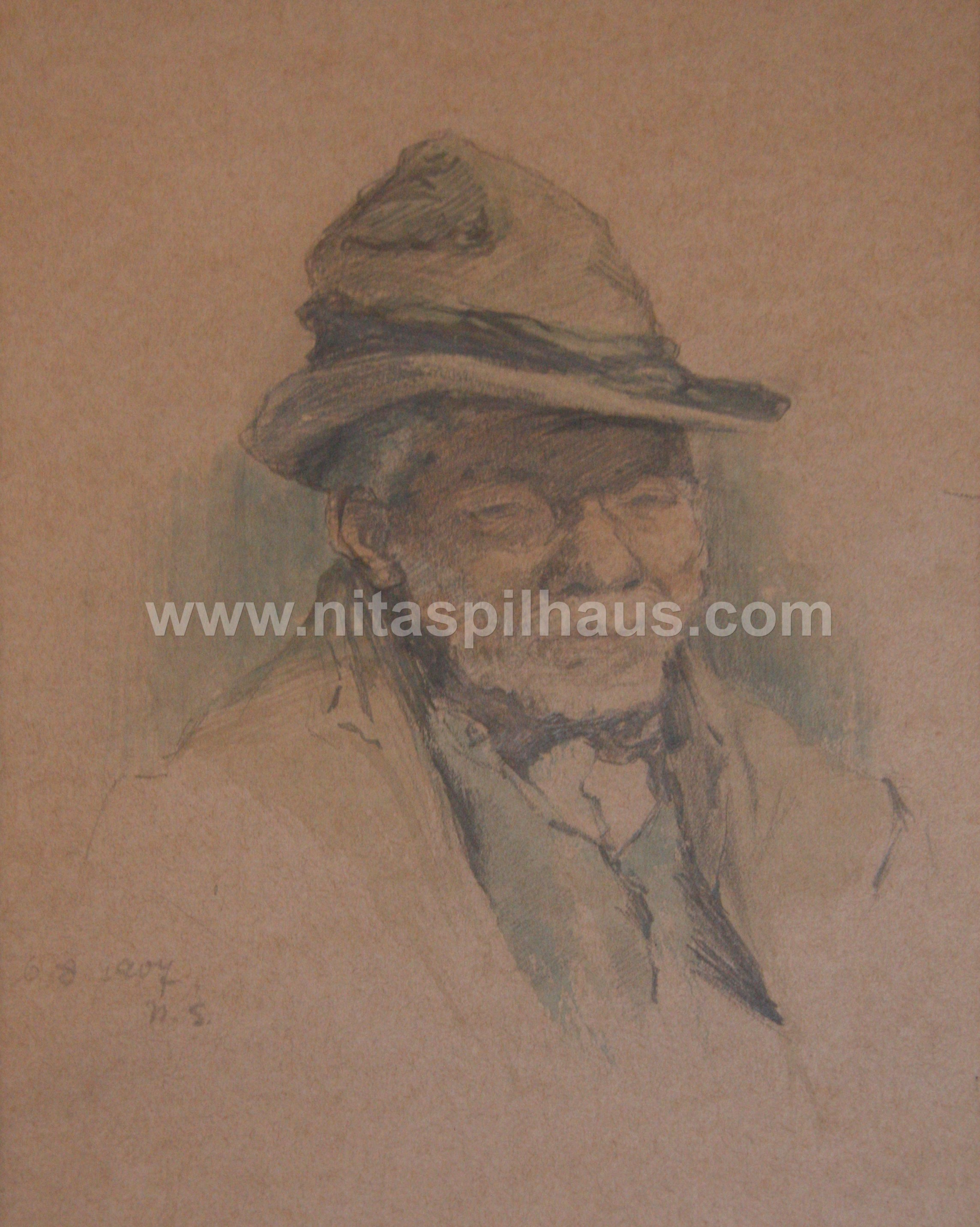 Old man, Drawing in pencil and wash on paper 14.6 x 21 dated 6-8-1907