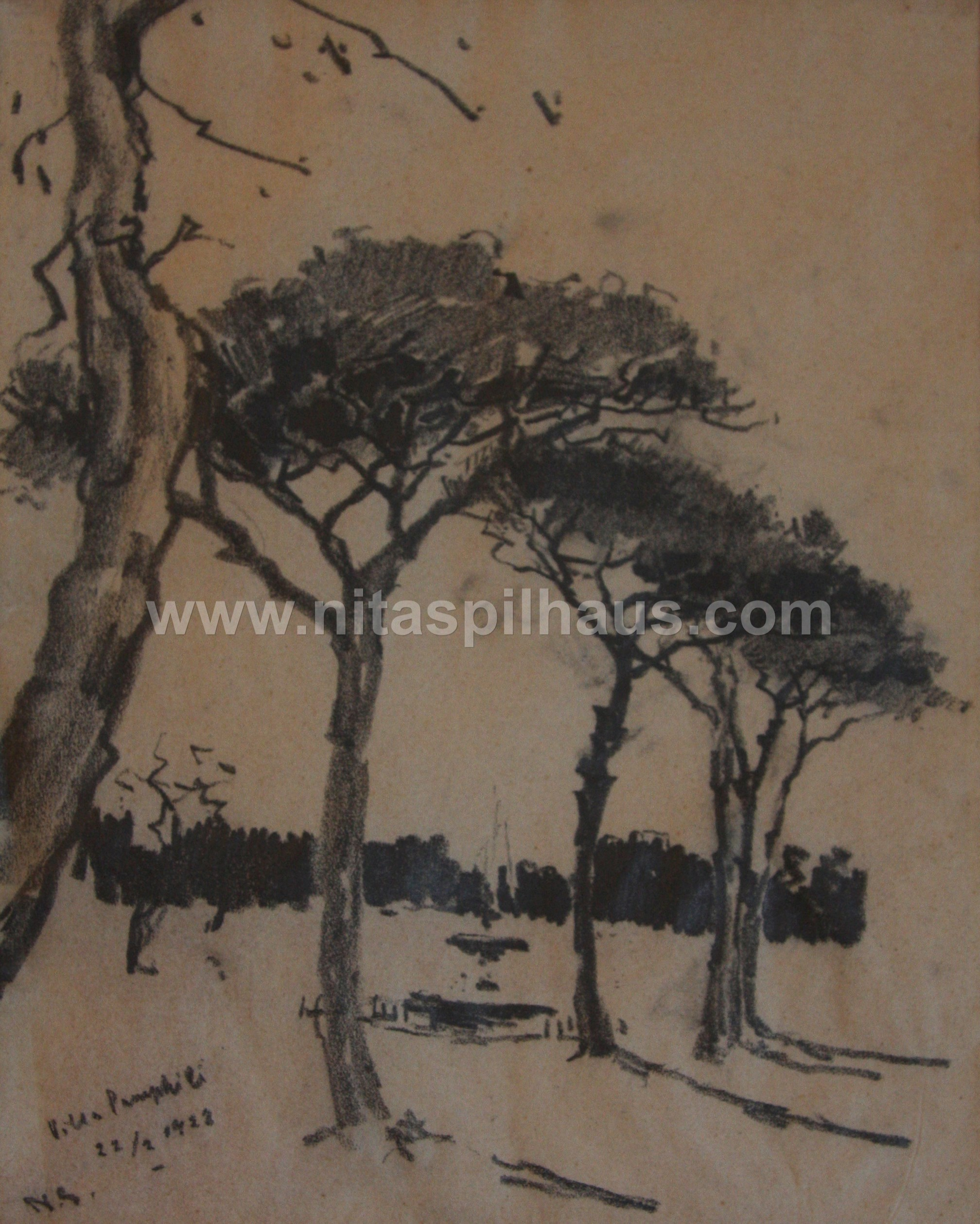 Villa Pamphili, Drawing in pencil on paper 18.5 x 26.5 Collector 3