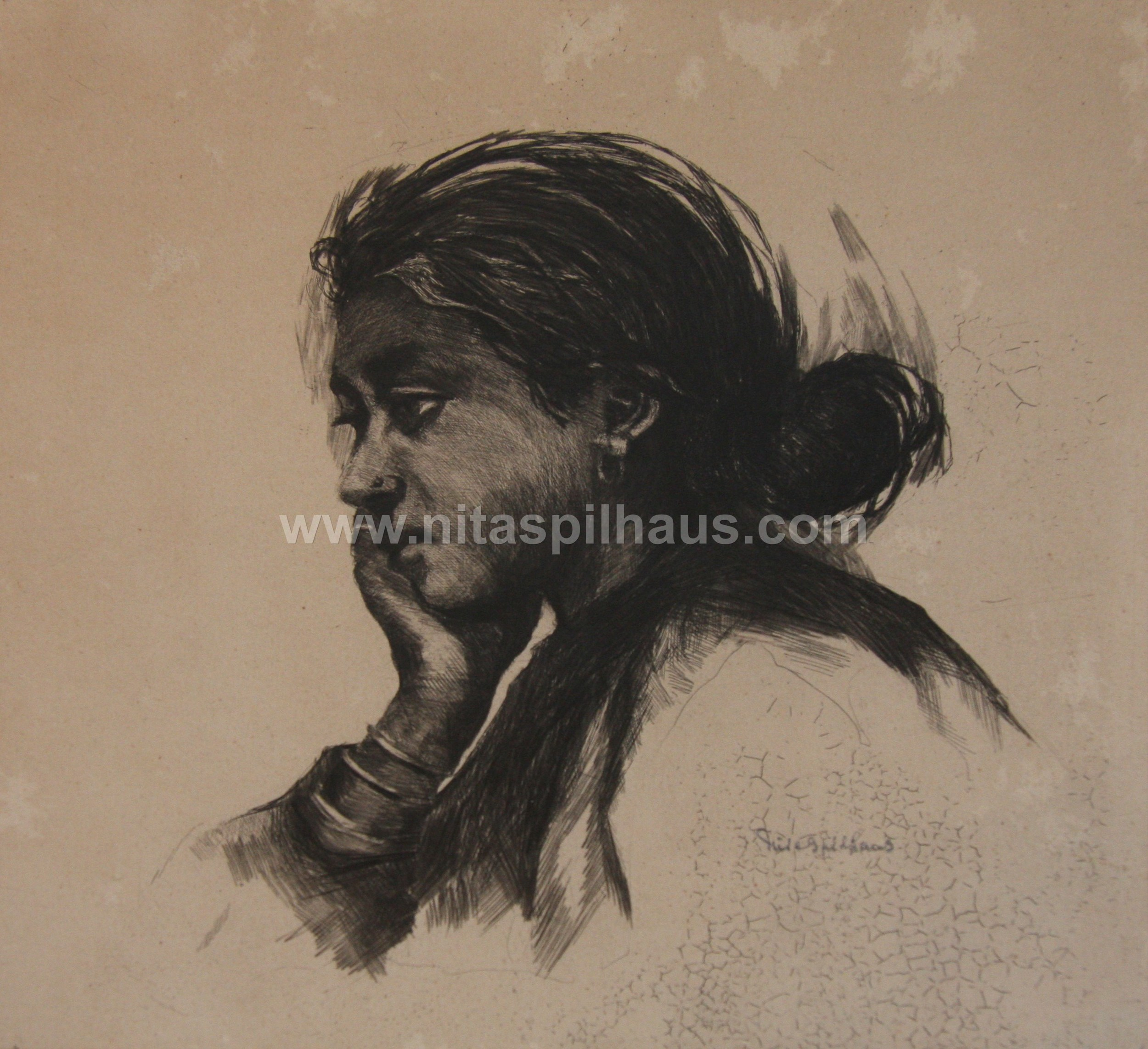 Young woman.limited edition lithograph on paper laid down on cardboard 22.5 x 22.5 Collector 3