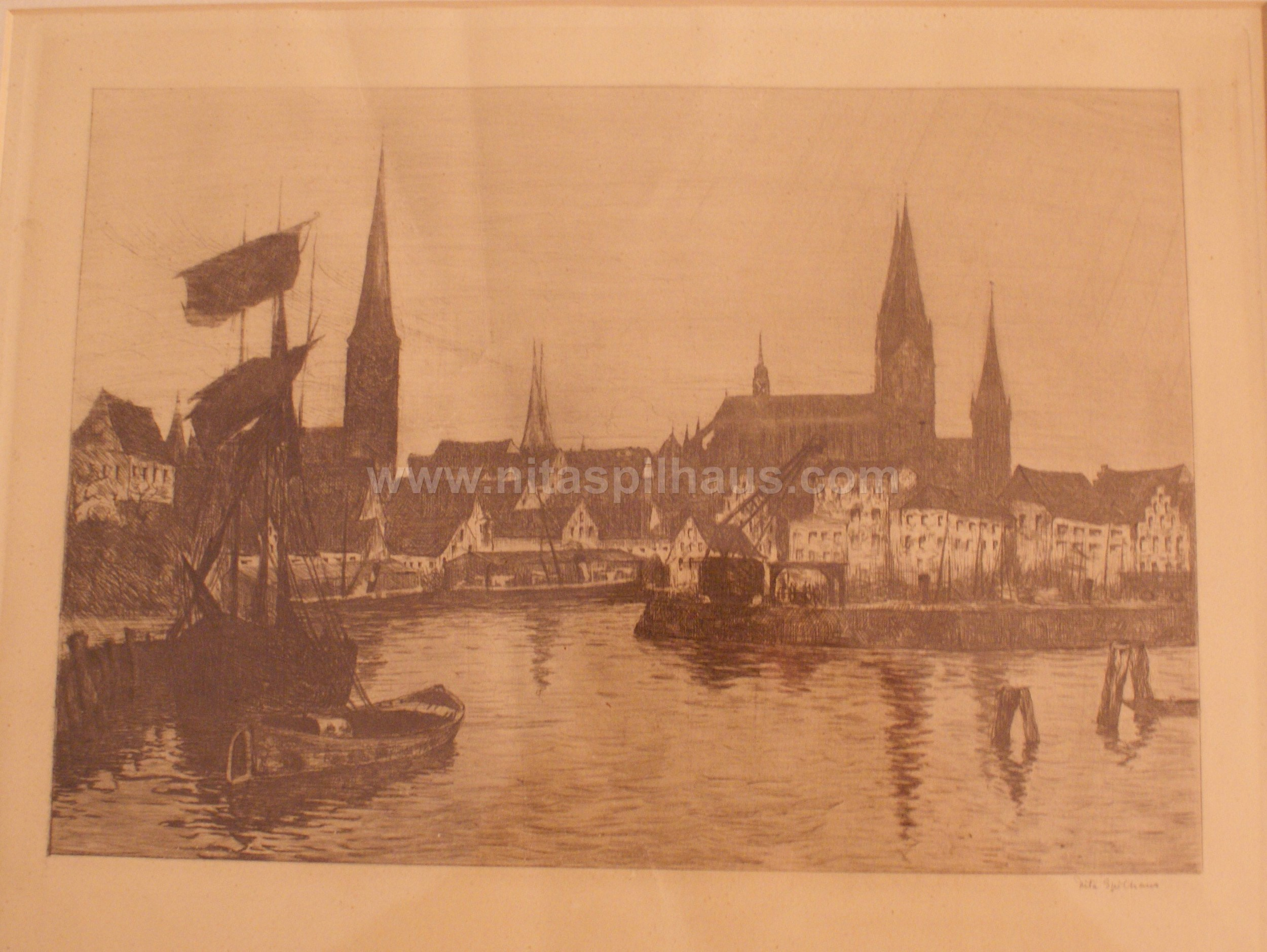 Etching View of Lubeck 24 x 33 Collector 7