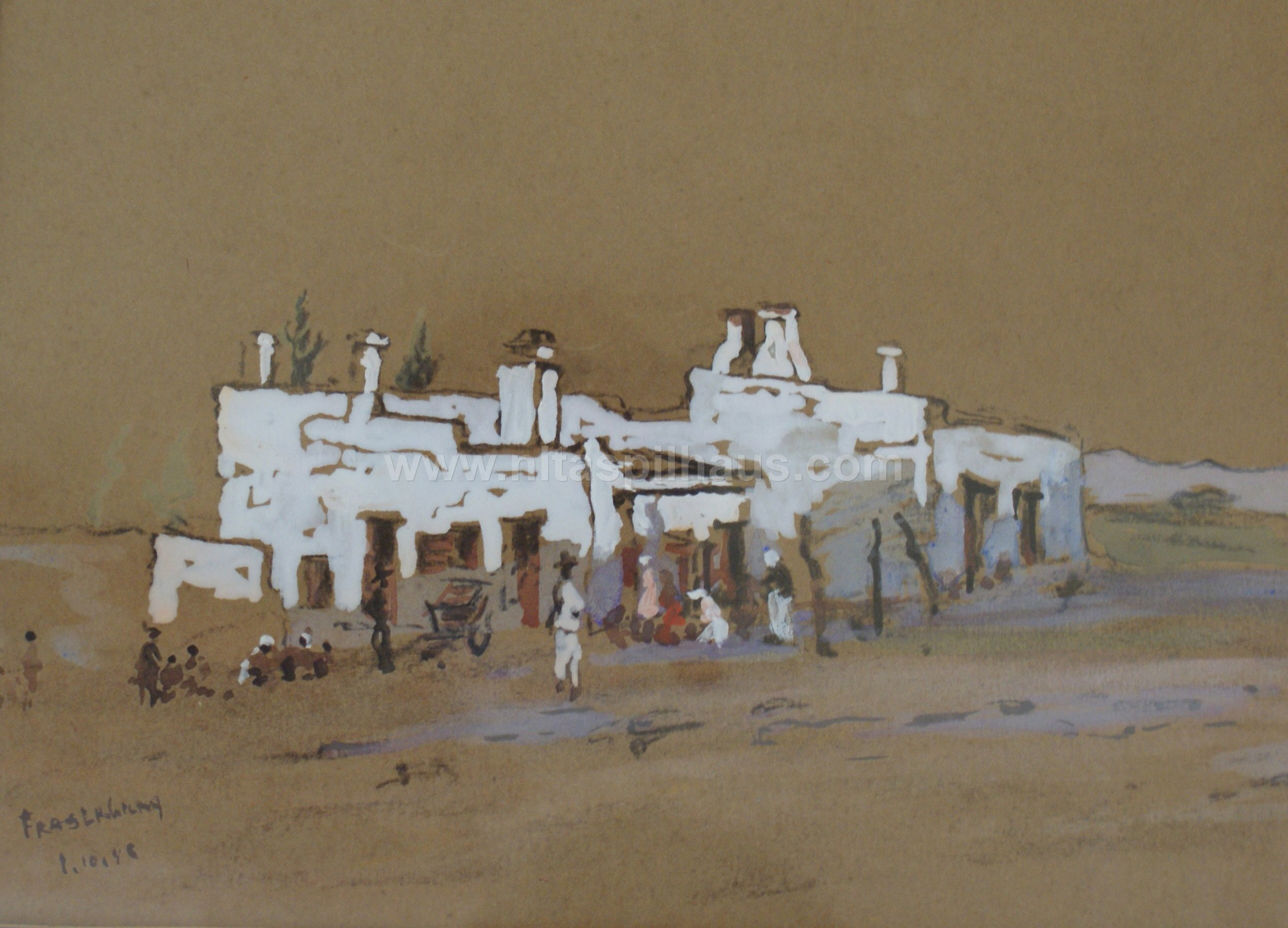 Fraserburg watercolour on paper dated 1.10.40 54 x 44 Collector 8