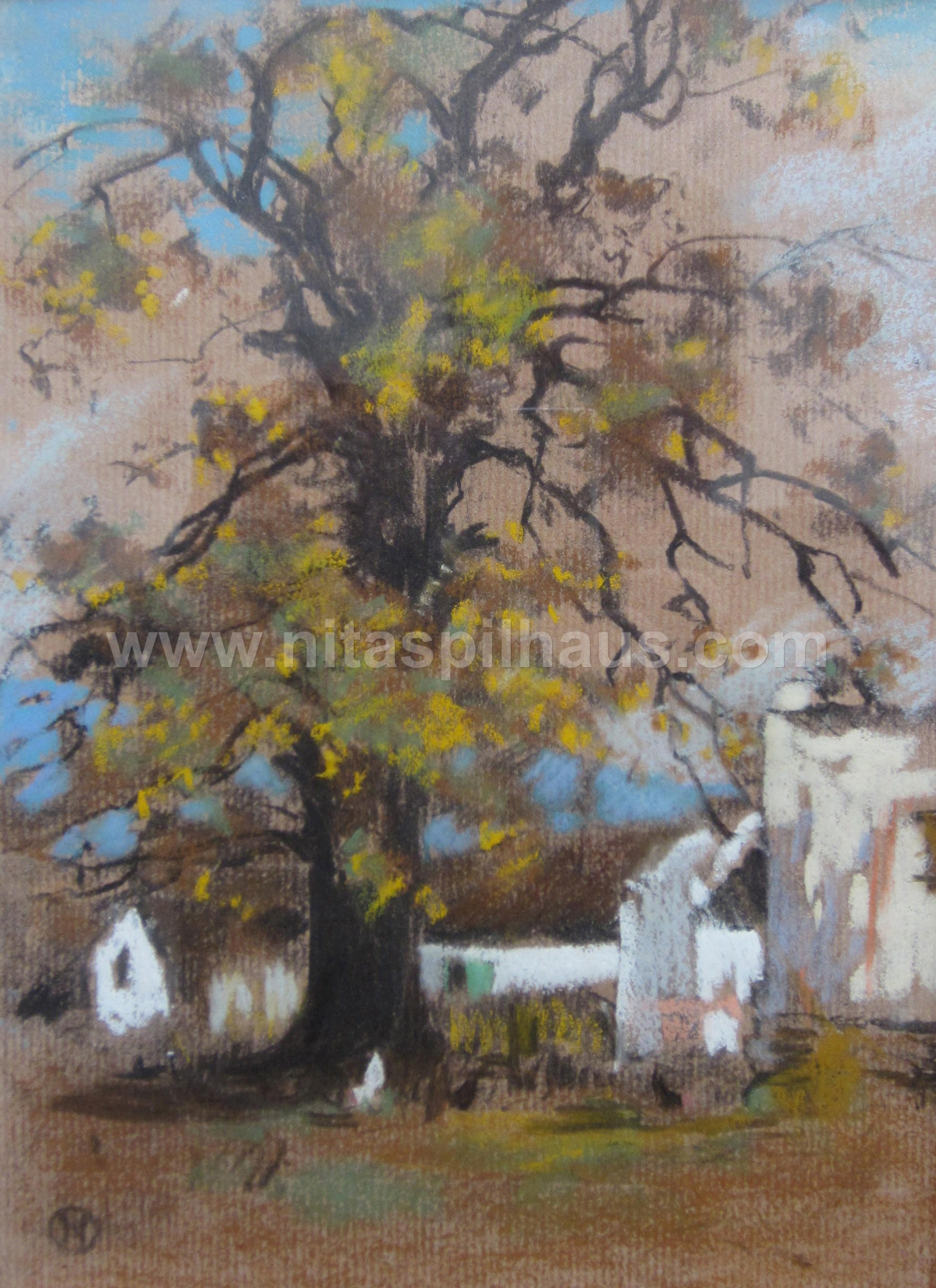 Autumnal Oak tree with farm buildings Pastel on paper  23 x 17 Collector 11