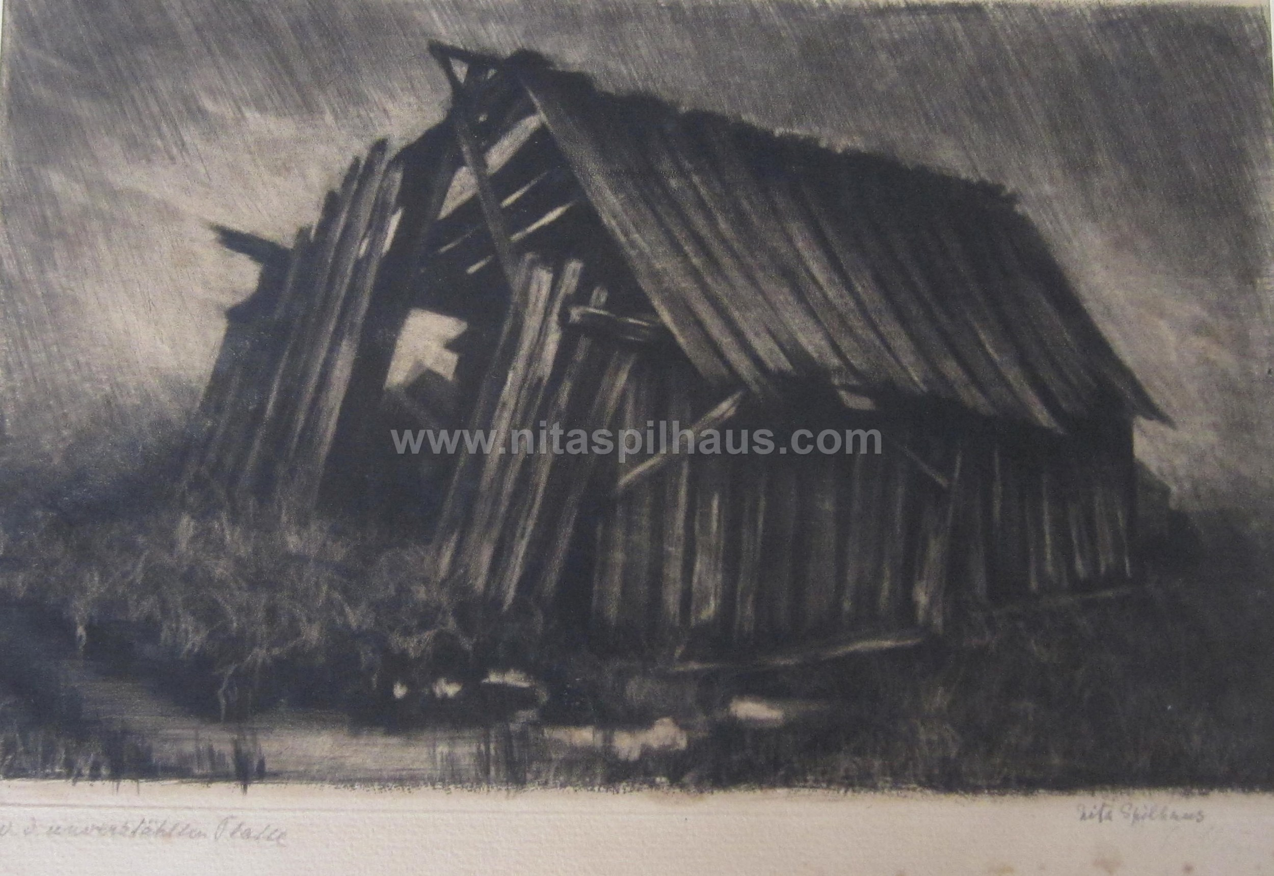 Etching Collapsed farm building 16 x 25.5 Collector 11