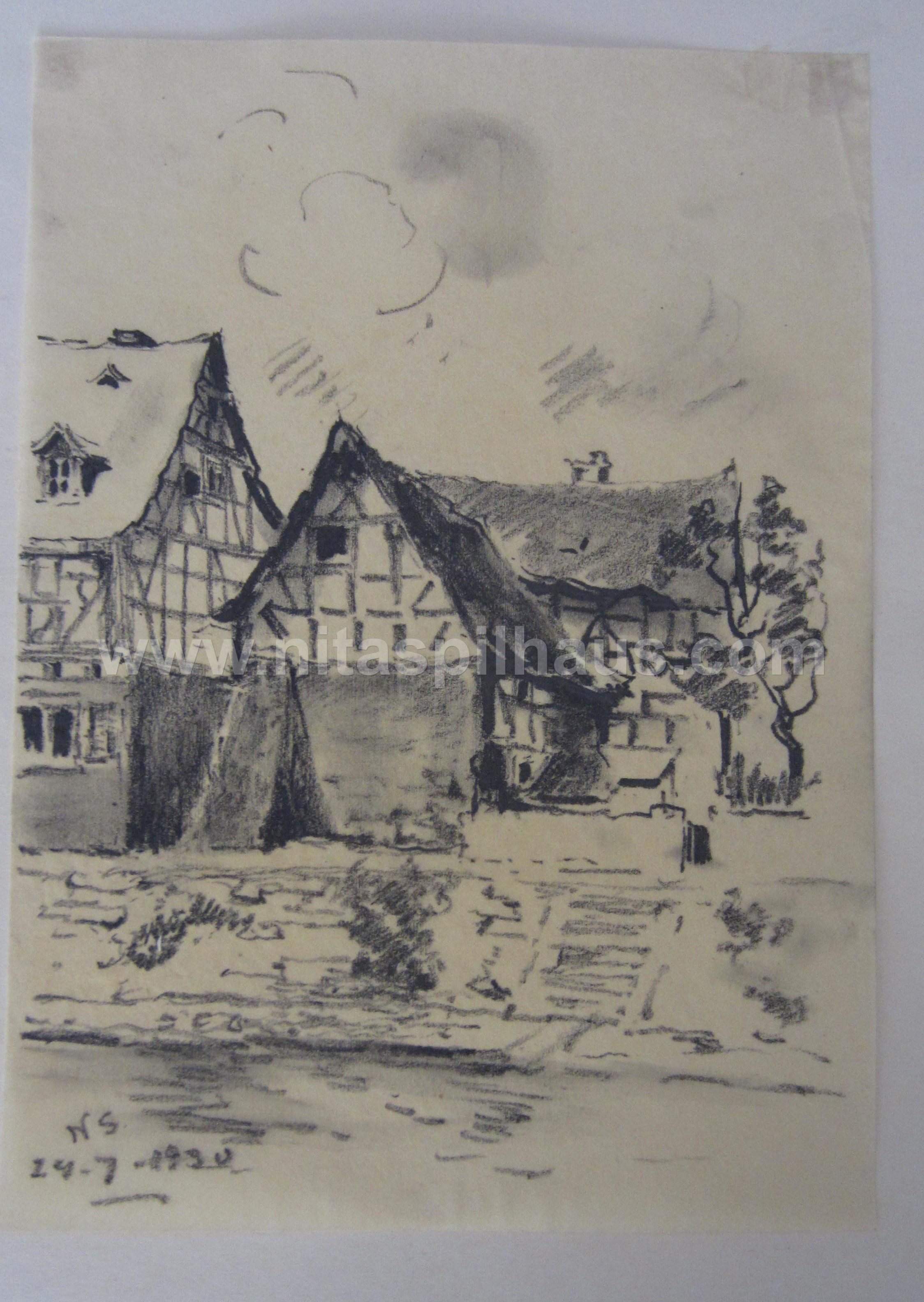 Riverbank houses 24.7. 1930 charcoal on paper Collector 11