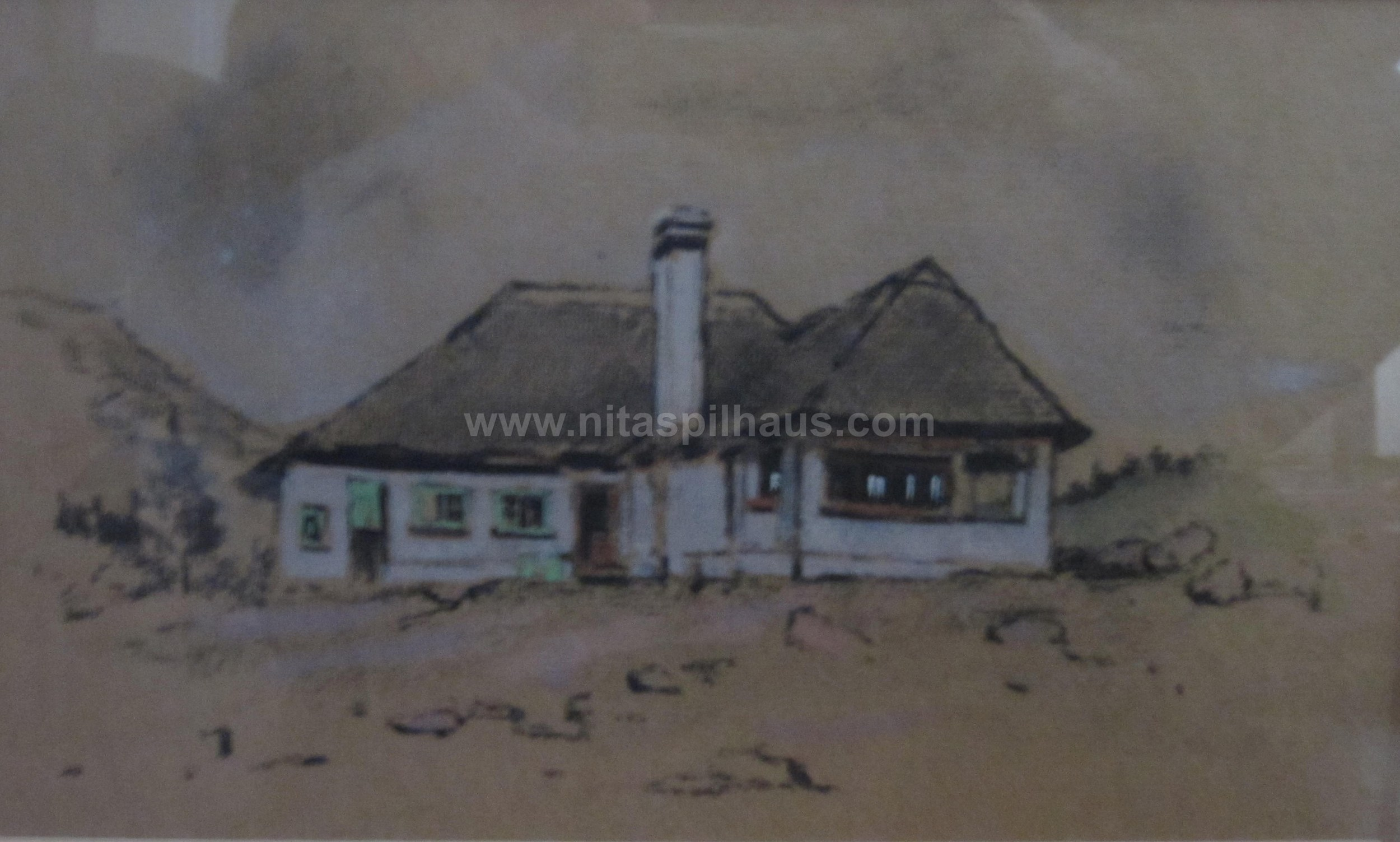 Glenconnor farmhouse Charcoal and wash on paper 15 x 25.5