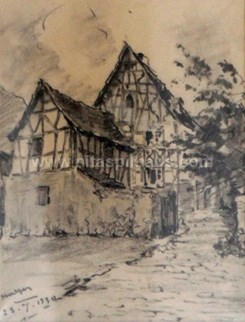 Half-timbered house Oberspay dated23.7.1934, Charcoal on paper 23 x 18 Collector 14