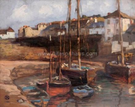 Mevagissey Harbour (Cornish Coast), Oil on board 32 x 39 Collector 14