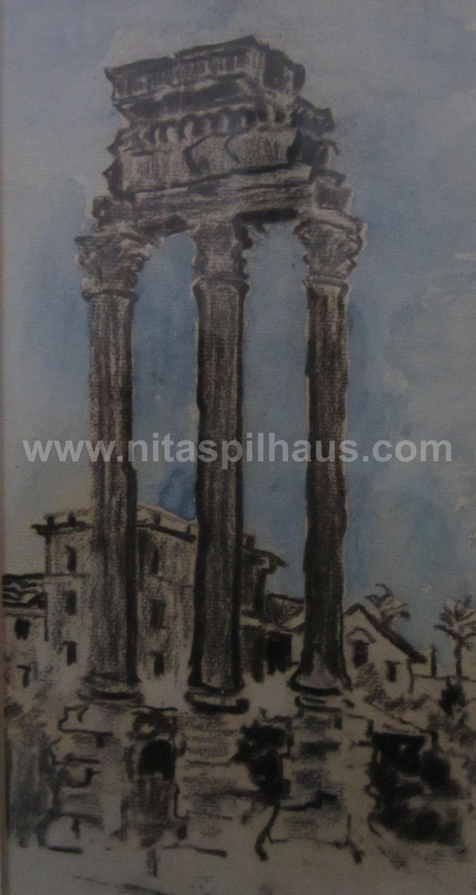 Ruin of Roman temple Charcoal and watercolour on paper 28.5 x 15 Collector 11