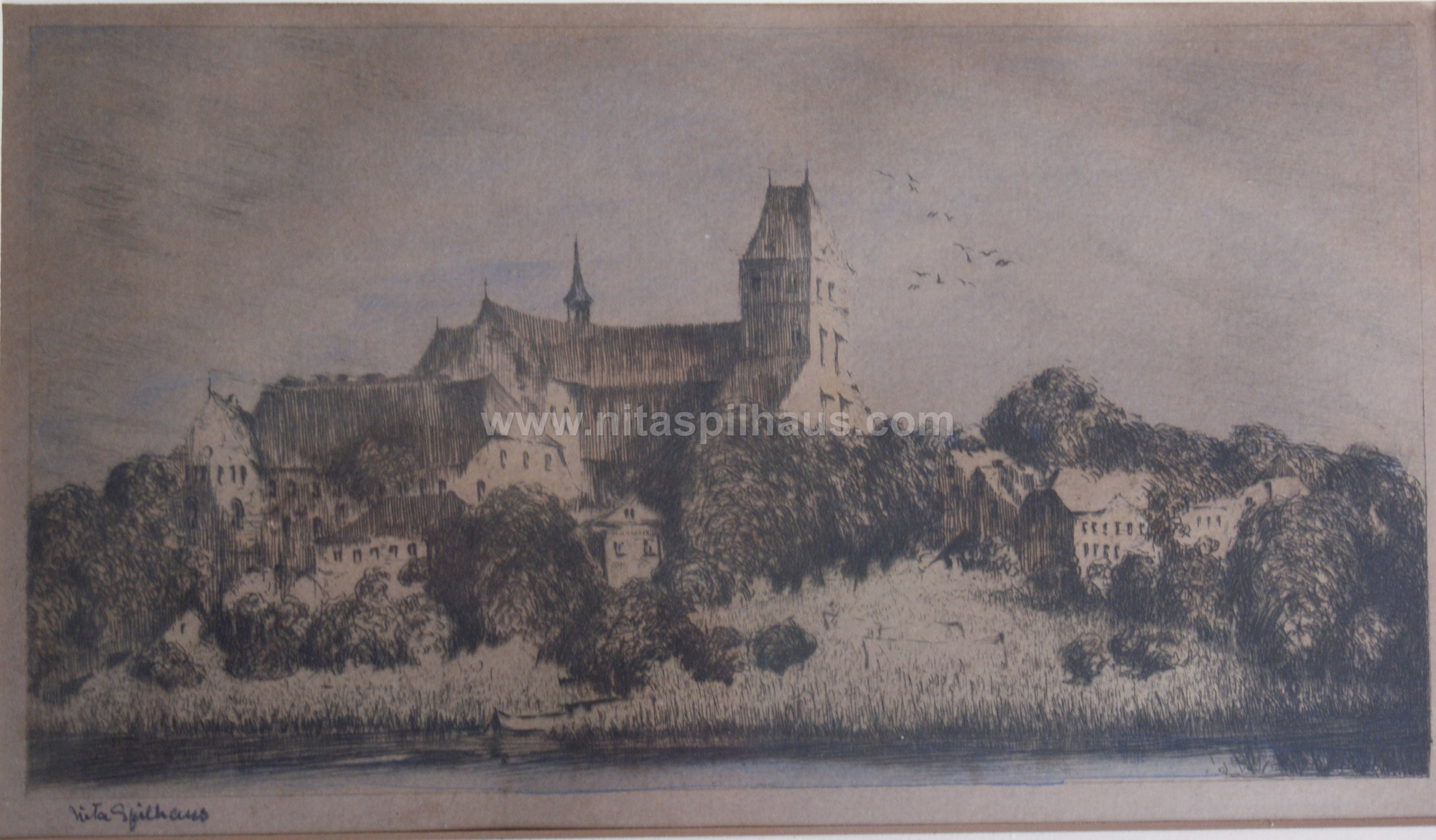 Monastery on hill Etching 13 x 23 Collector 16