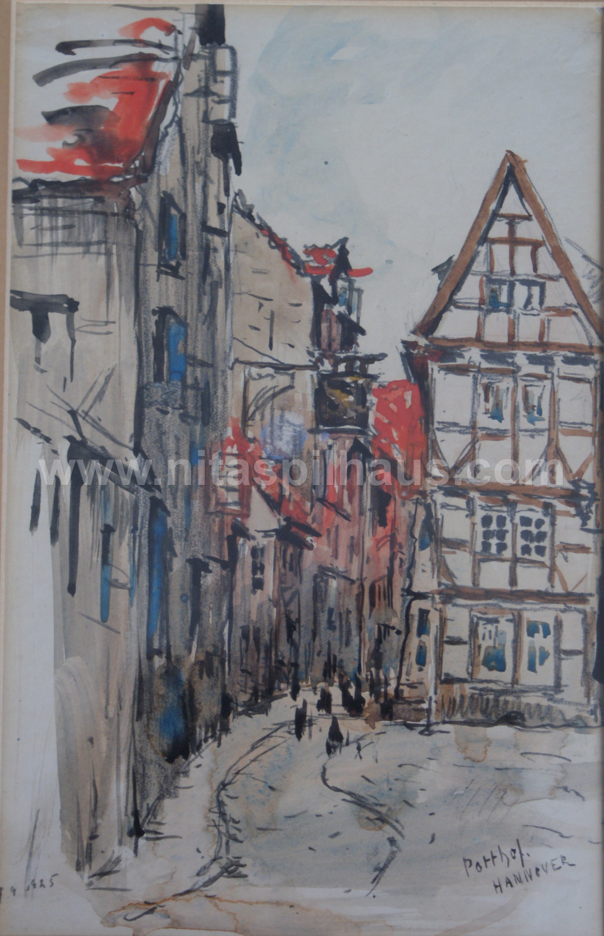 Potthof Strasse Old Hanover, dated 1925, watercolour 14 x 21 Collector 16