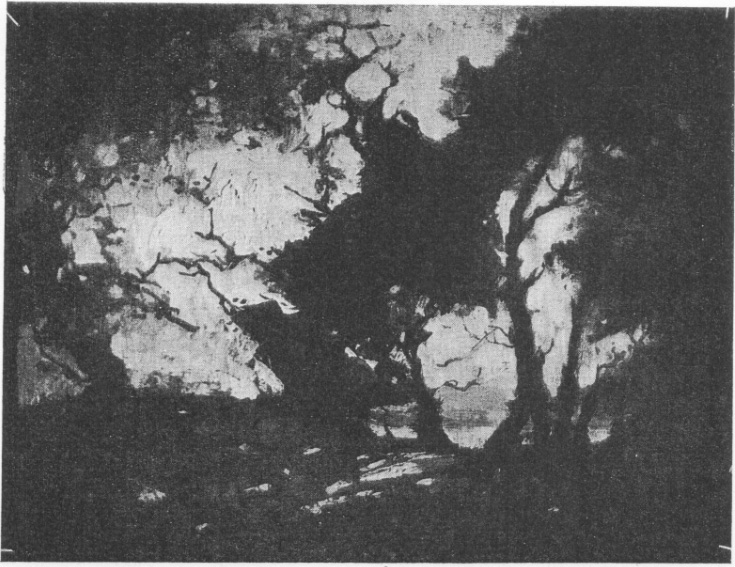 """Evening"", an oil painting illustrated in black and white on p 494 of Die Husigenoot of March 1923, in an article on the joint exhibition that February at Ashbey's, CT, of Ruth Prowse ,Nita Spilhaus, and Florence Zerffi"