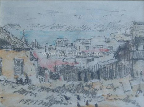 [Unititled scene of houses] [pastel on paper] [dimensions] Collector 27
