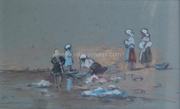 [Untitled scene of woman washing clothes in a river, with other figures] [pastel on brown paper] [dimensions] Collector 27
