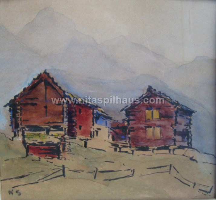 Swiss chalets Water colour on paper 15.5 x 17 cm Collector 39