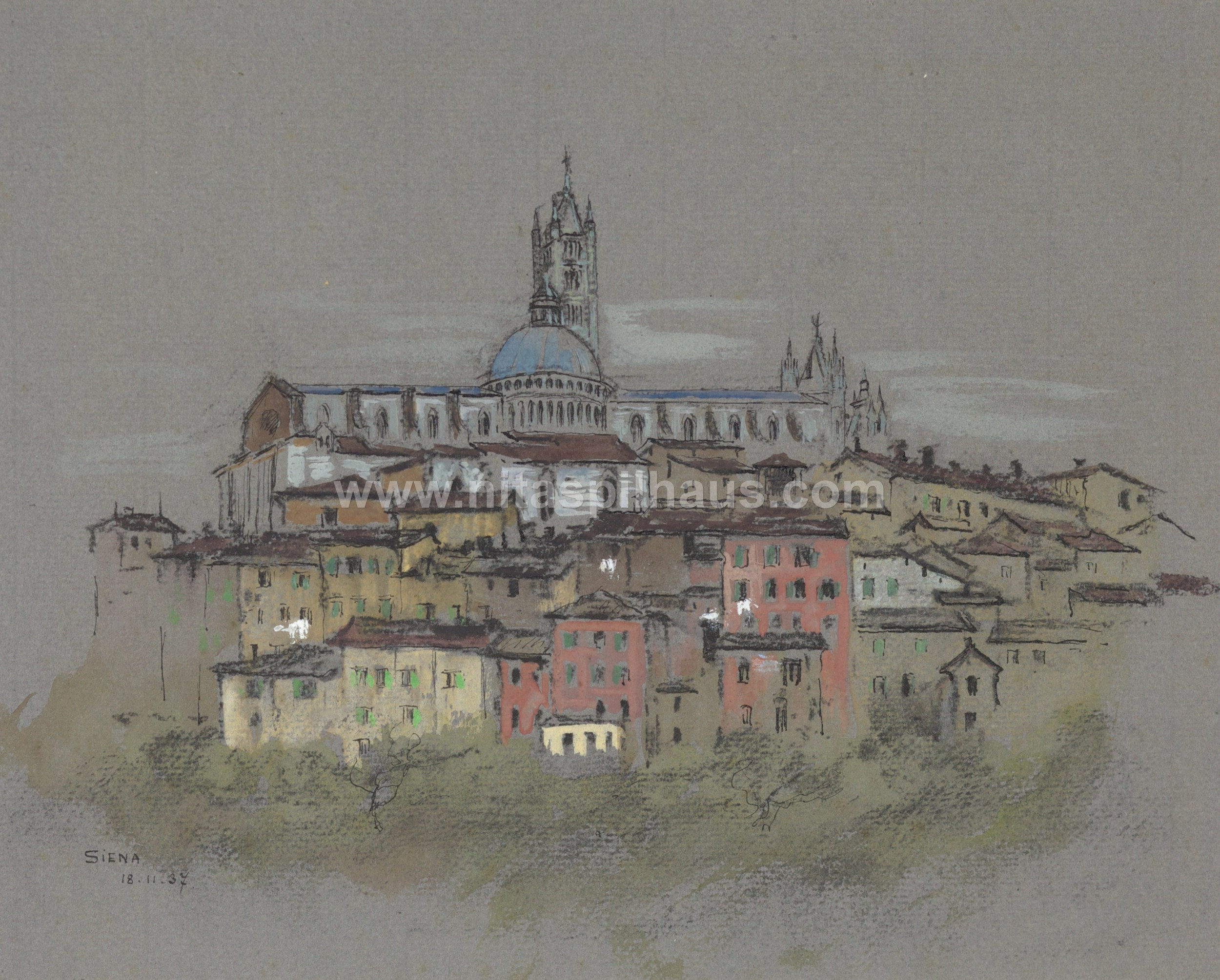 Siena 18-11-37, pastel,  22.2 x 26 Collector 36