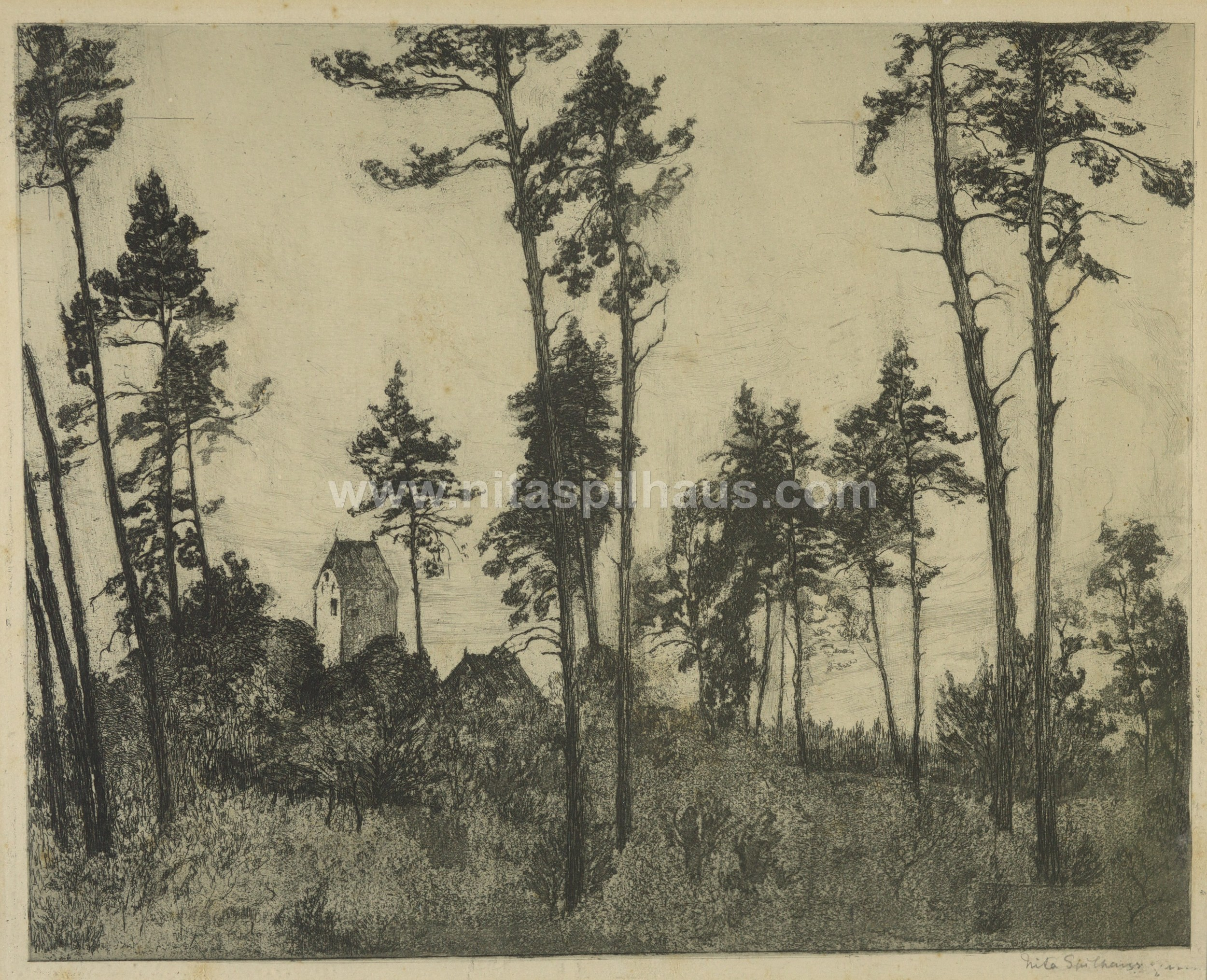 Trees and tower, etching, 22.9 x 28.9, Collector 36