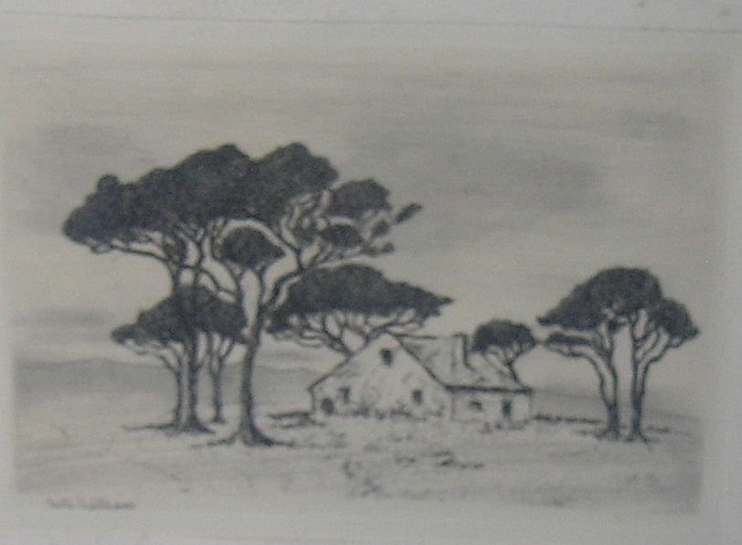 Cluster of fir trees encircling a farmhouse, etching,  8.5 x 3.5 cm, Collector 30