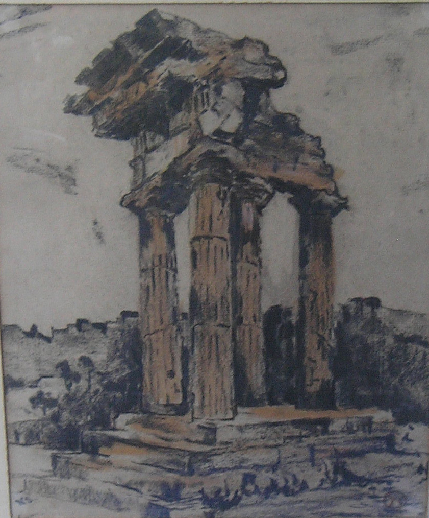 Agrigento, Sicily, charcoal and watercolour, 30 x 23 cm, Collector 30