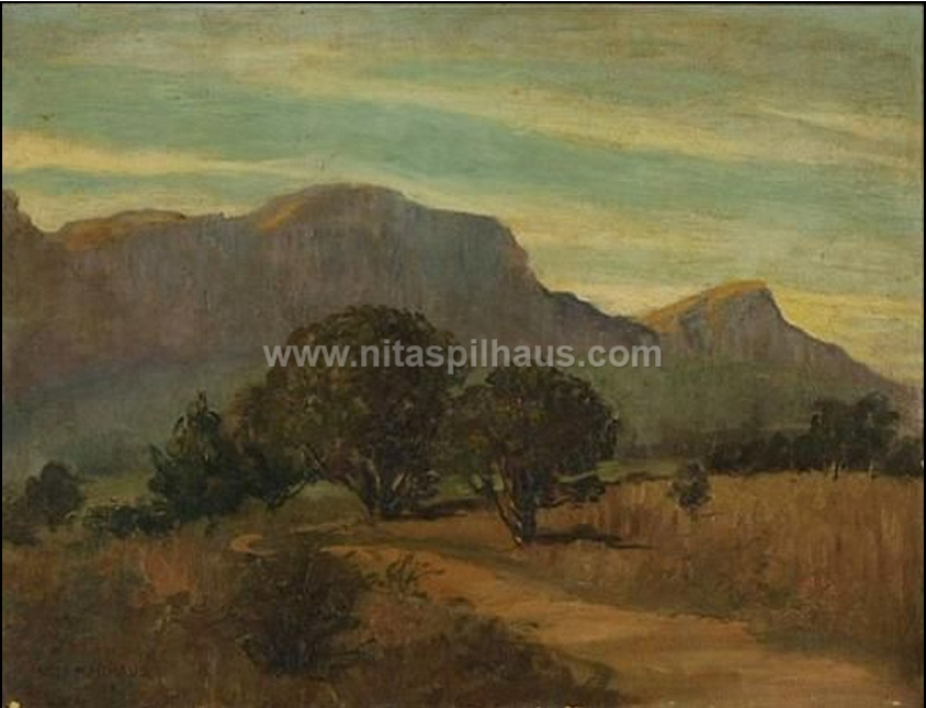Road leading towards Table Mountain and Devil's Peak Oil on board 53 x 69 Collector 50