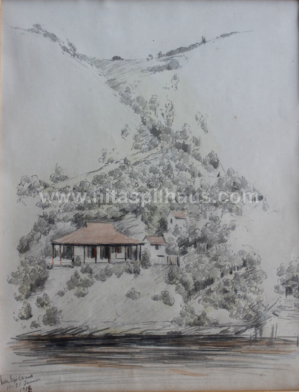 The beach-house at Kaaiman's River, Pencil and watercolour on paper, 21 x 17 cm, Collector 49