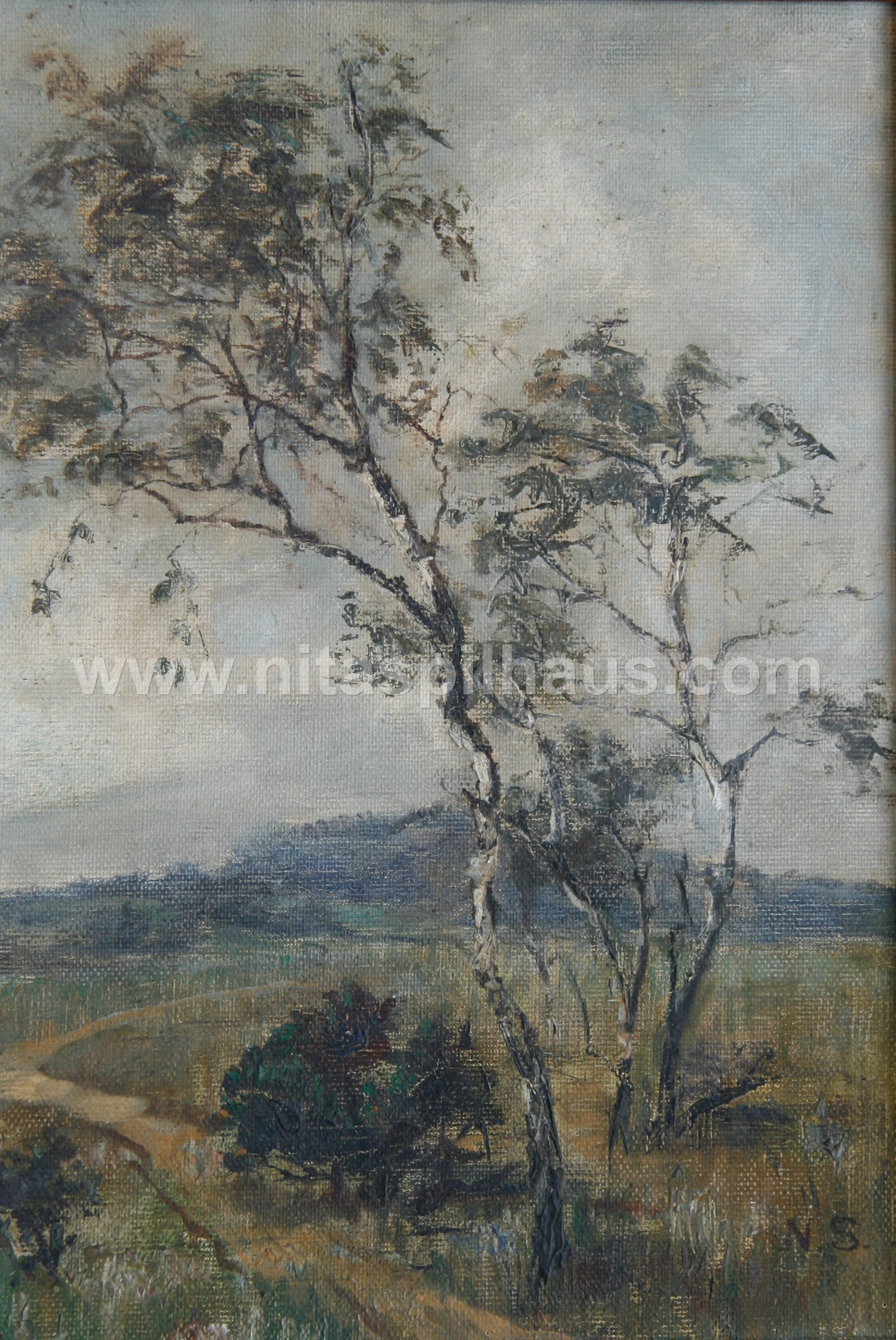 Trees in a landscape, Oil on canvas, 26.0 x 36.4 cms Collector 53