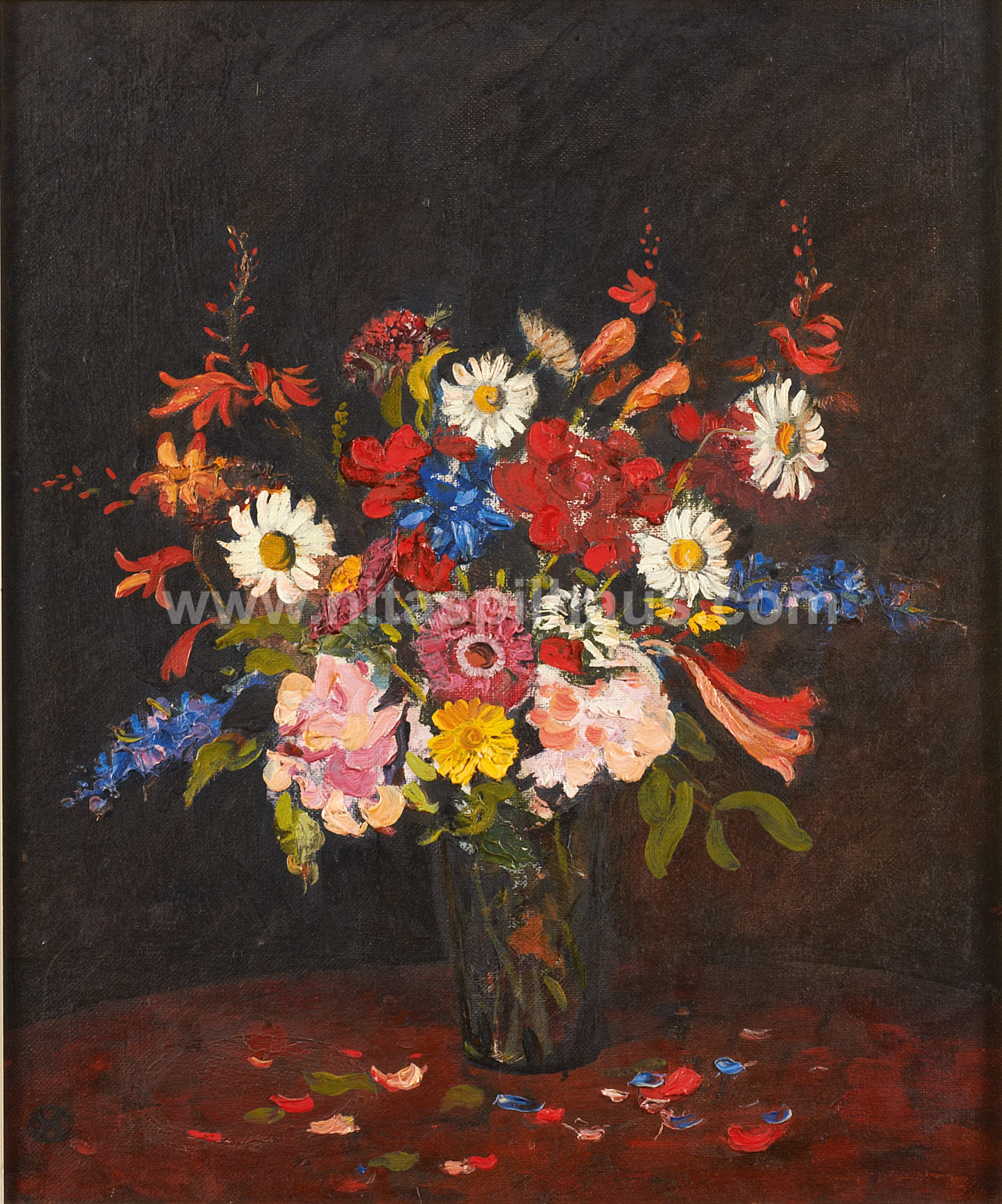 Spring Flowers in a Glass Vase Oil on Canvas 46.5 x 39 cms Collector 61