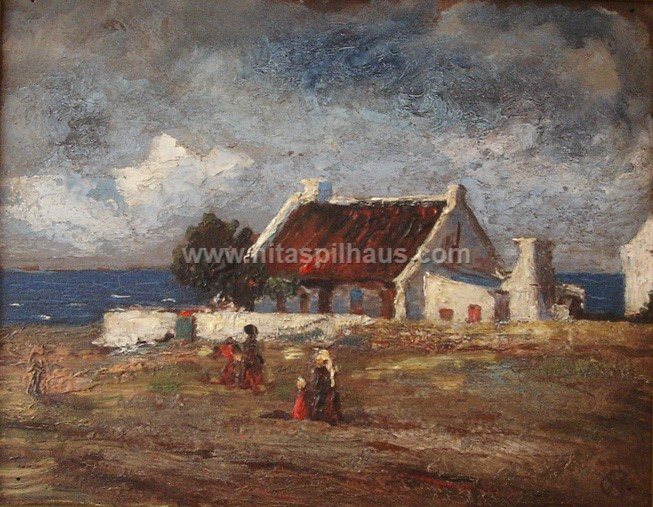 Cottages by the Sea, Oil on board, 24.5 x 19 cms, Collector 55