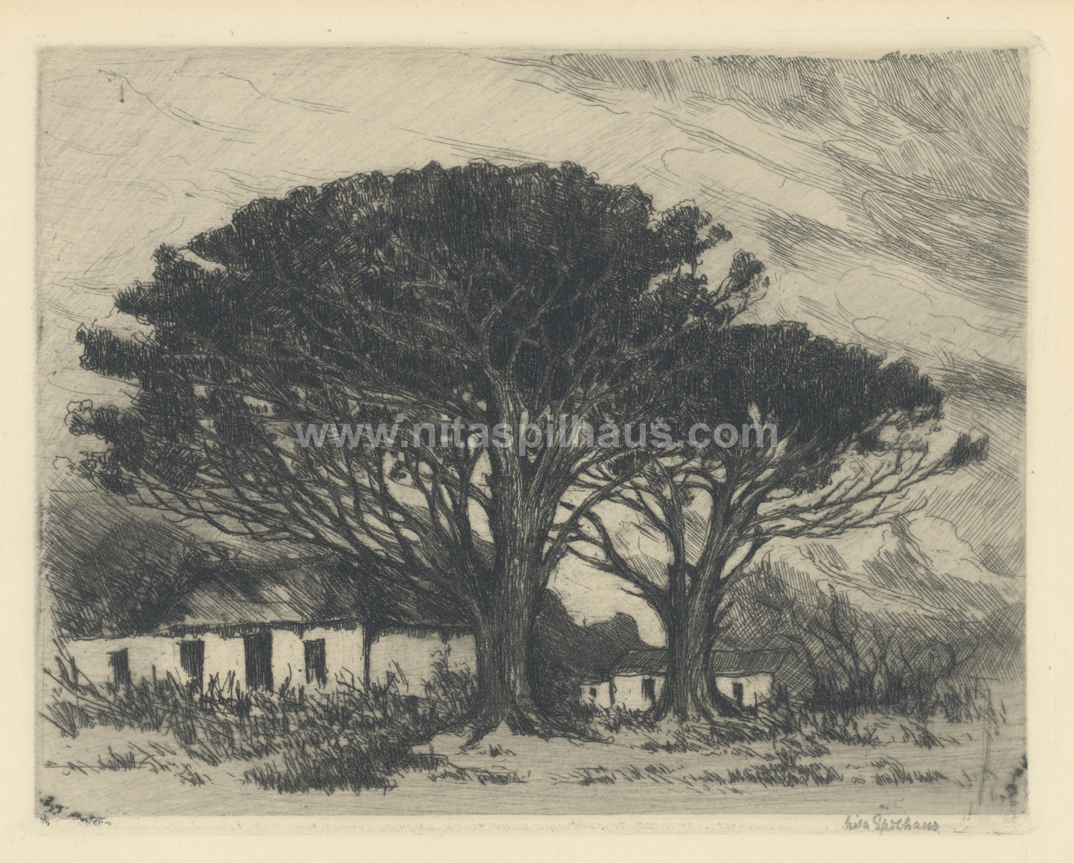 Farm Cottages and Trees, Etching, 13.6 x 17.5 cms, Collector 74