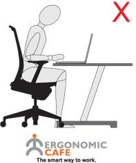 Here is a clear illustration of how working directly on a laptop encourages poor posture, and thus increases the risk of musculoskeletal disorders.