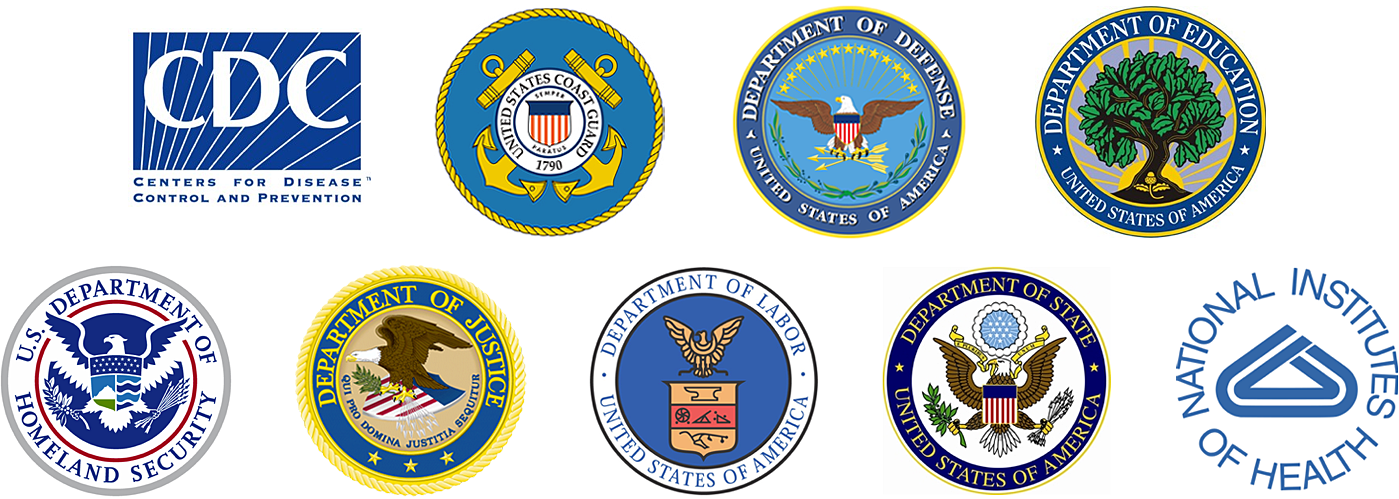 Seals of various agencies that Blue Capture's clients work with