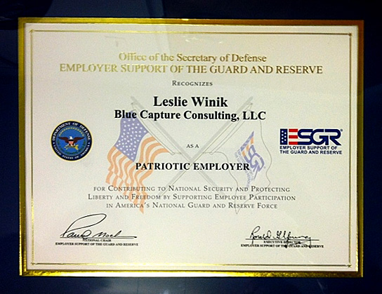 Certificate from the Office of the Secretary of Defense to Leslie Winik, Blue Capture Consulting, LLC, as a Patriotic Employer
