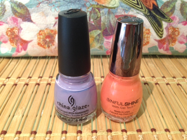 Peach is a great neutral paired with lavender.