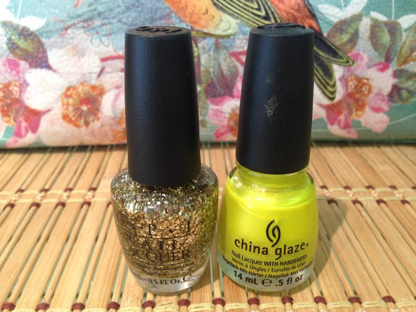 If you're feeling brave & trendy, use a bright color on nails and toes then layer a fun glitter on top!