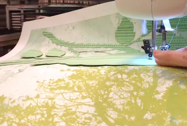 Mixed media, sewn letterpress print Julie Belcher