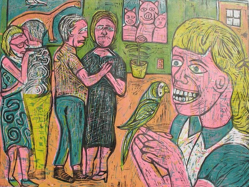 SEAN: Woodcut on plywood, hand printed in multiple layers on paper