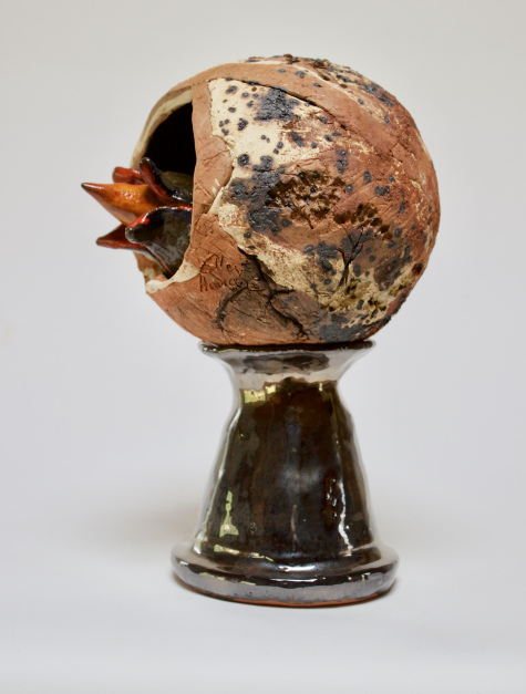 Seedpod, ceramic sculpture by Ellen Hansa