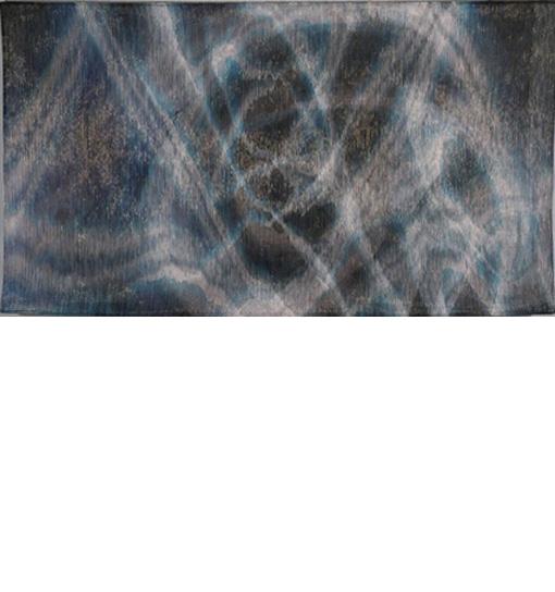 Frequency II  / ink, paper yarn, rayon, copper wire, metallic thread, steel; 48 in x 84 in