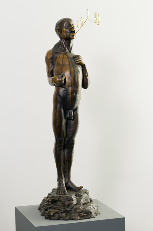 Man Invoking a Better Version of Himself  / Bronze & 18 karat gold; 37 in x 13 in x 15 in
