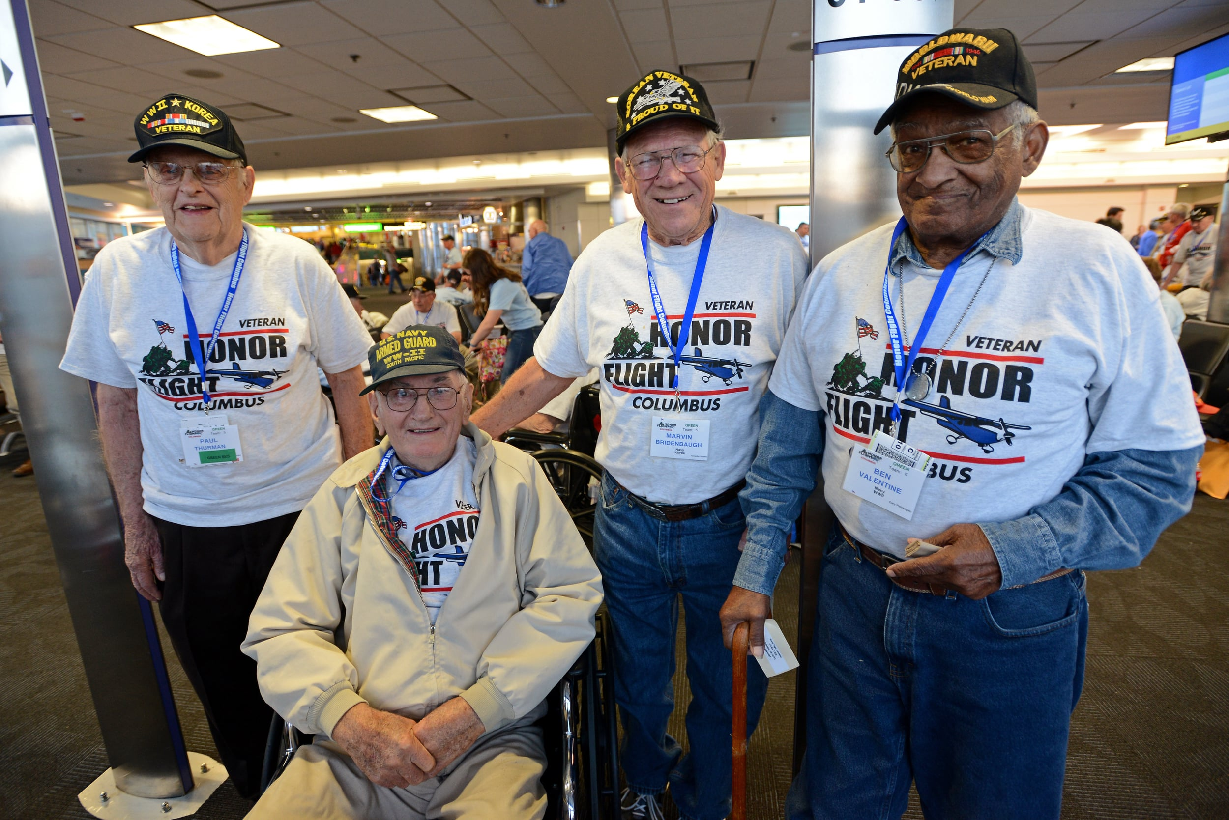 Four veterans from Ross County went on an Honor Flight together with 80 other veterans on Saturday, April 18 to Washington D.C. From Chillicothe are, from left, World War II and Korean War Navy veteran Paul Thurman, World War II Navy veteran Ken Houseman, Korean War Navy veteran Marvin Bridenbaugh and World War II Navy veteran Ben Valentine of Kingston.