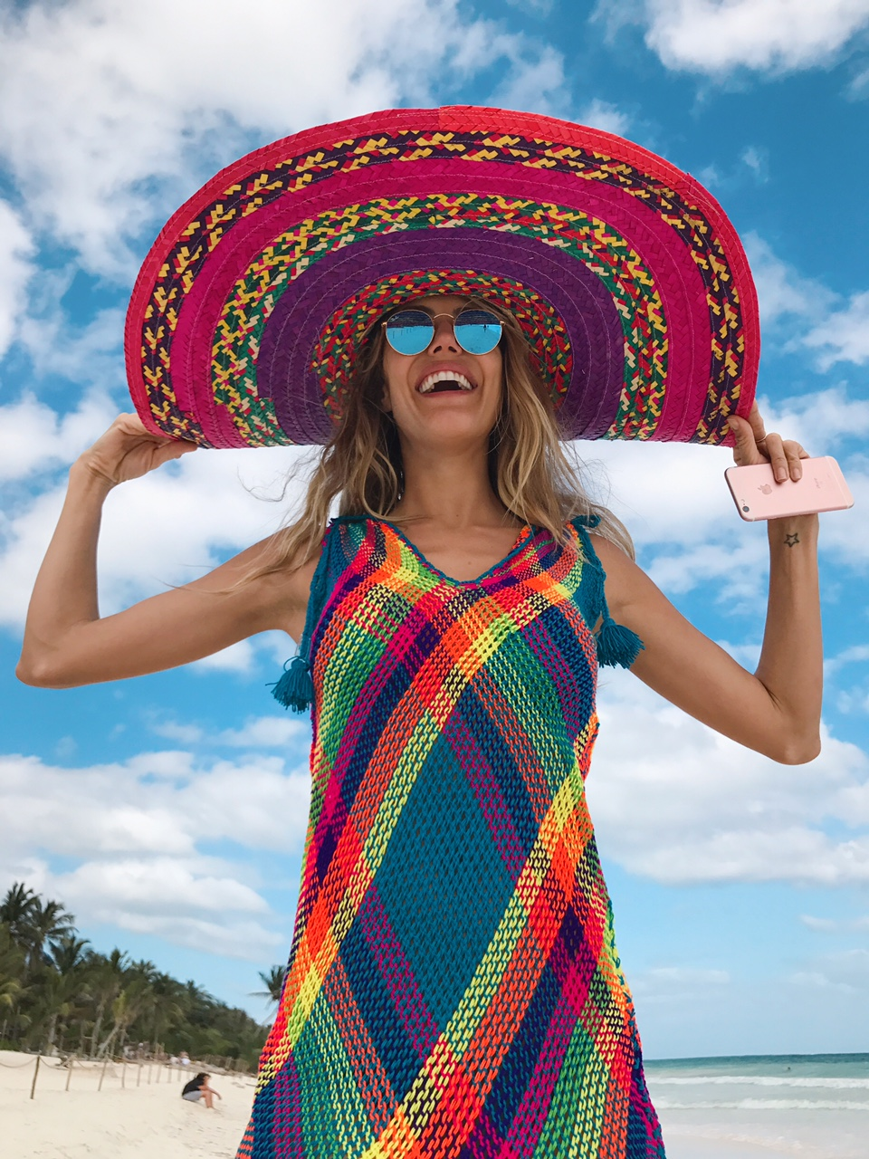 Local hat & knit dress and Ray Ban sunglasses