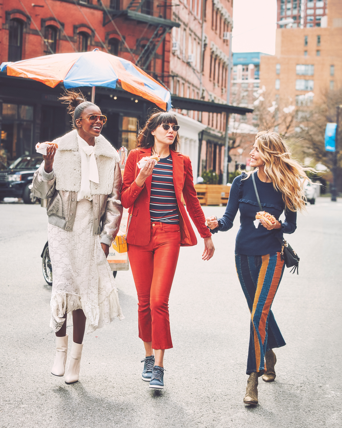 LEOMIE WEARS SEE BY CHLOE  JACKET  ,  BLOUSE  AND  SKIRT   NATALIE WEARS FRAME  BLAZER ,   TEE  AND  PANTS    I WEAR  SEE BY CHLOÉ SWEATER , AND  PANTS