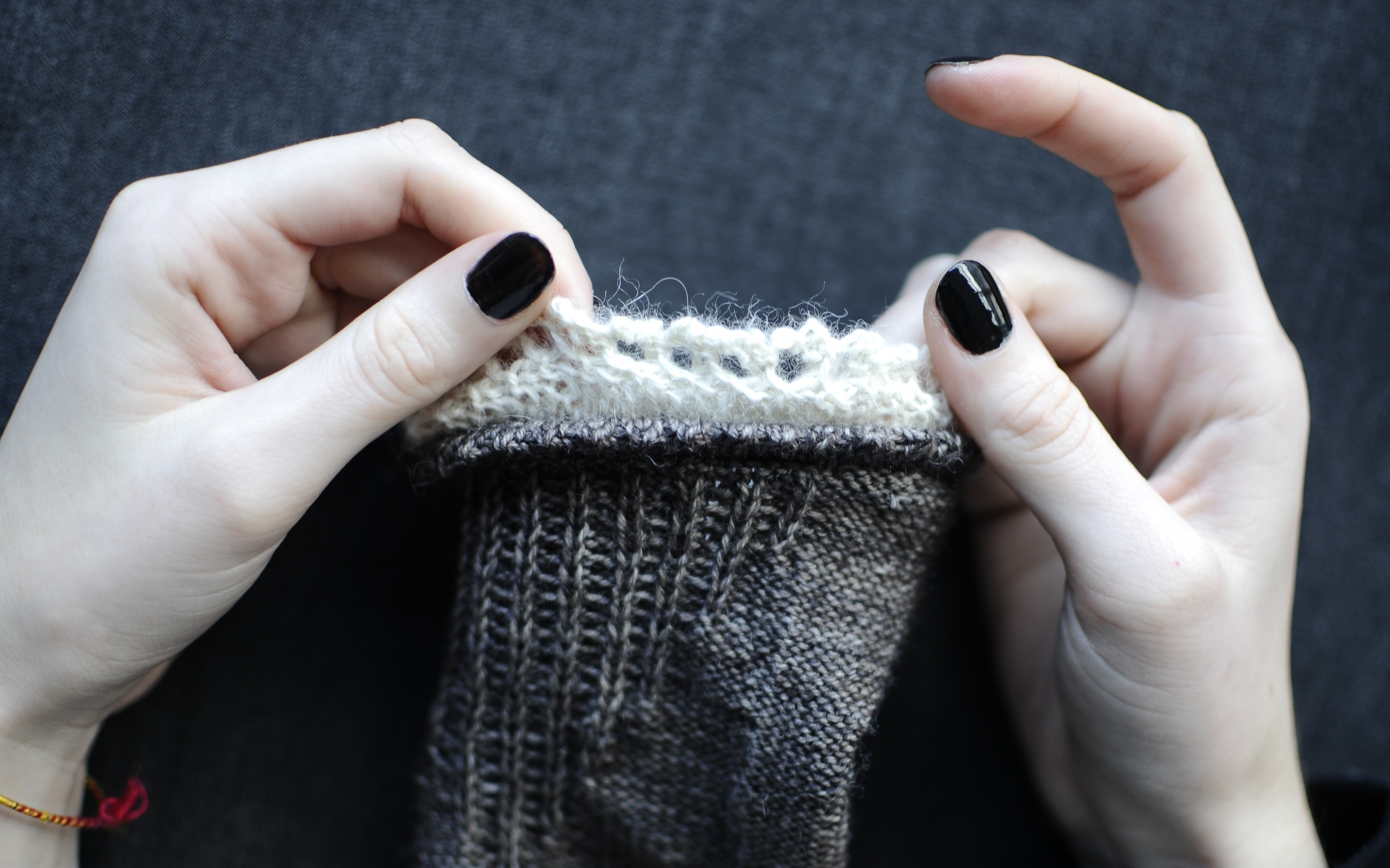 17. Turn sock right side out again and voila! You should have a double layer of picot and lace trim.