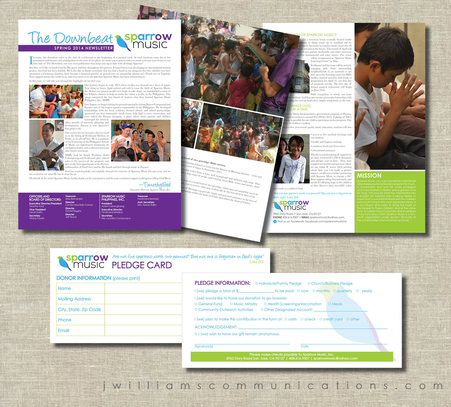 newsletter and pledge card for sparrow music graphic design samples.jpg
