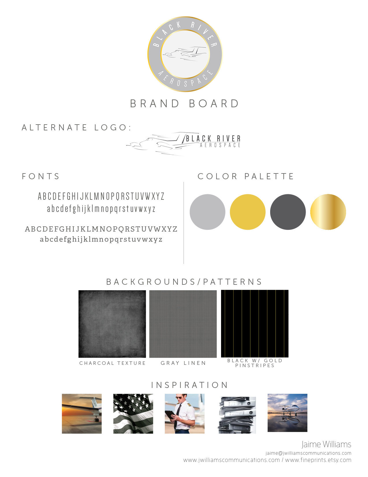 logo and branding design for black river aerospace - gold and charcoal color palette