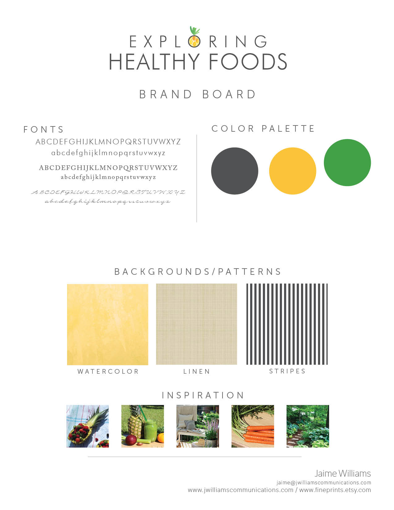 exploring healthy foods blog and book brand board and logo design