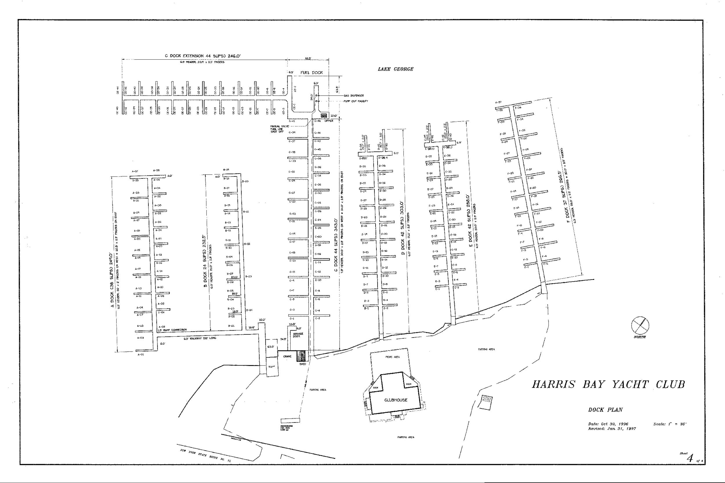 Harris Bay Yacht Club Dock Map