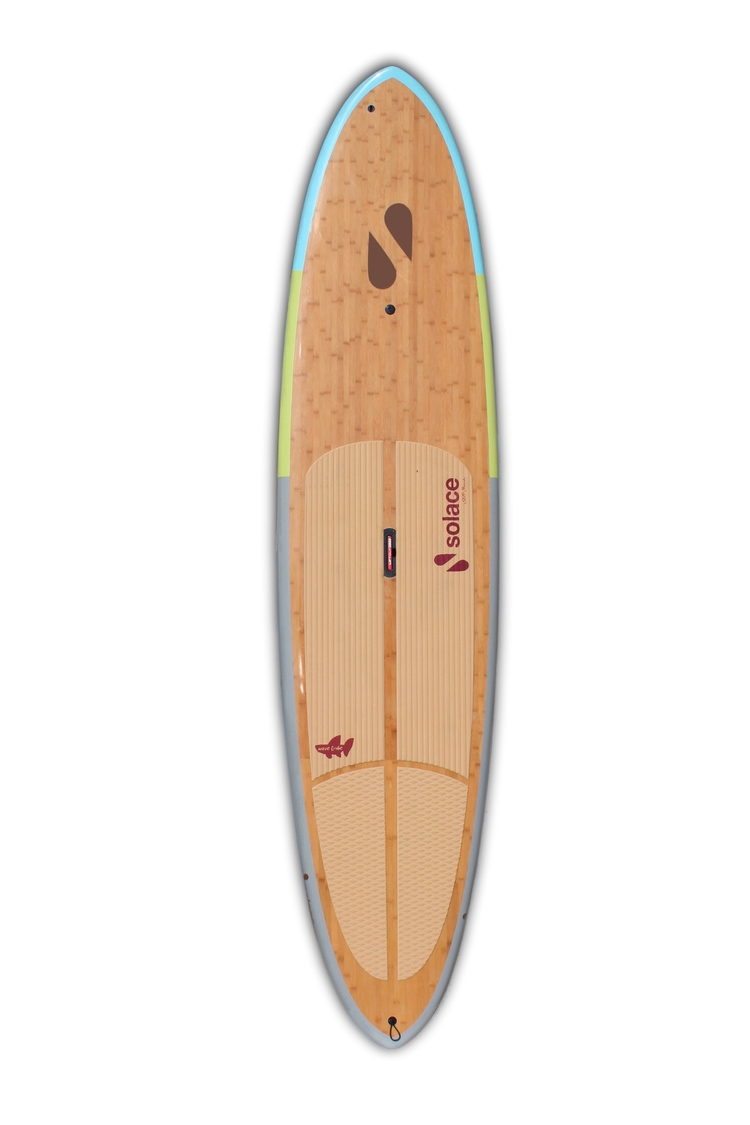 """The Regatta is Solace SUP Board's most popular stand up paddle board with its classic outline shape and extra stability. This bamboo board is a great all around choice. The round pintail and hard rail shape allows this larger board to maneuver as if it was a foot smaller. The dimensions of this popular, all-around shape have really proven to be that one board solution that would allow you to throw a cooler on it to go SUP fishing one day and then learn to surf some ankle to chest high waves the next. The innovative ProBox Hawaii fin system gives that full adjustability to position all your fins forward or backward to set just the way you like them. You are also able to interchange any FCS style fins and ProBox fins made by Larry Allison. Just as its name suggests, you'll be having a party on the water in no time, no matter where you paddle.  Adjustable 2 + 1 ProBox Hawaii fin system setup,3 Custom Solace SUP bamboo glass fins,Comfortable Solace SUP ECO cork deck pad ,Maintenance free air vent ,Lift SUP patent pending retractable handle for easy carrying,GoPro camera mount,Bamboo reinforced deck for durability,Double leash cups,Single to double concaving creates a nice lift and acceleration,Curve rocker at the nose to help keep out of the water,Thinned out tail and nose for maneuverability   Tech Specs:   11'6"""" x 32"""" x 4 1/2""""         203 liters in volume         29 lbs         Recommended for paddlers up to 225 lbs beginner + 30lbs for advanced"""