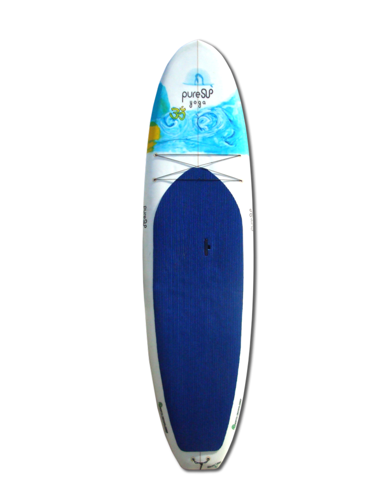 Pure SUP Yoga uses plant based resins in place of toxic petroleum based chemicals. The amount of fiberglass required for construction is minimized with the use of sustainable wood stringers and laminates. All boards are glassed using the only USDA certified bio epoxy on the planet, Super Sap from Entropy Resins. Other material used in construction include: bio plastic leash plugs, handles, recycled or recyclable foam, sustainably harvested wooden stringers, or bamboo stringers and bamboo veneers. The best part is that our boards are each made with love right here in California!  These boards are shaped with a flat deck and wider design to help with stability while exercising on the board. The slight rocker at nose and tail allow for use in the surf while maintaining stability in the center of the board. These boards are lightweight, easy to carry with a special handle that pops out and they have netting at the nose of the board for storage. Perfect for touring around or practicing your yoga on the water!  Our boards proudly display the ECOBOARD Project logo as they are verified by Sustainable Surf Org's Benchmark criteria. All our boards are verified by Sustainable Surf Org and their ECOBOARD Project Benchmark!  An ECOBOARD must be made from at least one of the following materials:  1. FOAM Blank: made from minimum 40% recycled foam or at least 40% biological content 2. EPOXY Resin: made from minimum 15% biological content 3. WOOD Blank: A blank structure made from sustainably sourced biological/renewable material (aka-wood) that provides the majority of the surfboard's material and structural integrity – and therefore significantly reduces the amount of foam or resin needed to build the board  Sustainable Surf's research suggests that the use of these types of materials produces a longer lasting, high-performance surfboard, with a significant reduction in carbon footprint vs. a typical surfboard. The majority of toxic chemicals used in manufacture and board product