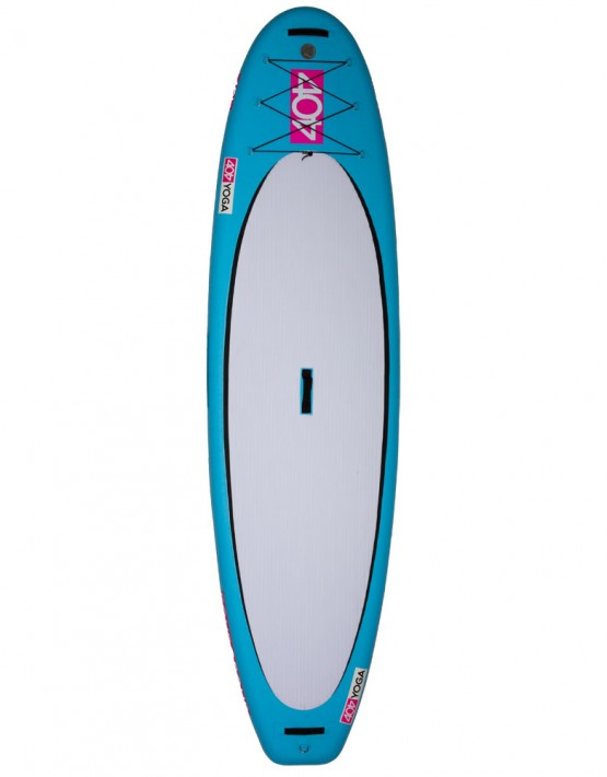 """Specifically designed for those who prefer to practice yoga in the best studio of all, on the water. The board features a thicker profile to improve stability so even the most difficult yoga positions are achievable. The oversized surface area of the soft EVA traction pad provides strong grip for the yogis' hands and feet. Heavy-duty nylon straps on the nose and tail allow for anchoring systems to be secured. The Yoga AIR also works well for recreational paddling on rivers, lakes, and oceans. Namaste.  H3 High Pressure Valve (20psi capacity) on the nose for easy deflation during rolling and packing  Nose, mid-board, and tail Nylon carrying straps  US Fin BOX with 9"""" fin  EVA Traction Pad  Nose Bungee Cords  Backpack Carrying Case with waste harness  Bravo SUP Stirrup Pump  Air Pressure Gauge  Valve Wrench  Repair Kit  Instruction Manual   LENGTH - 10'2""""  WIDTH - 32""""  THICKNESS - 5""""  WEIGHT - 26 LBS"""